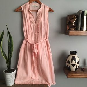 LOFT Pink Sleeveless Casual Belted Mini Dress 737